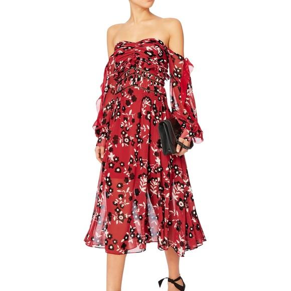 00a5243646e2 Self-Portrait Dresses | Selfportrait Floral Print Strapless Midi ...